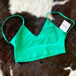 Free People Green Pullover Bra with Ribbed Trim